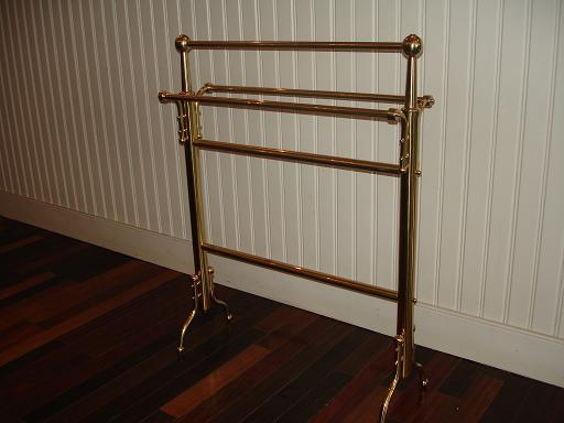 towel rack | fabricate missing parts | butler brass lacquer | after
