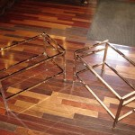 brass table base | polished nickel | restore | after