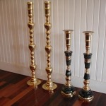 brass candlesticks | polish lacquer | restore | after
