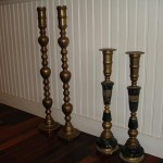 brass candlesticks | polish lacquer | restore | before